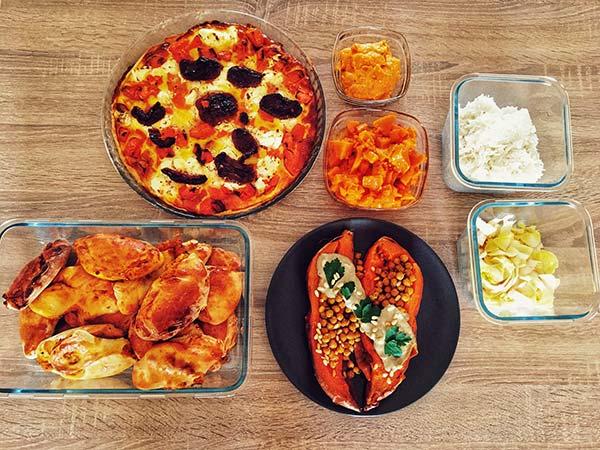 Les petits plats de Sarah préparés à l'avance avec le batch-cooking
