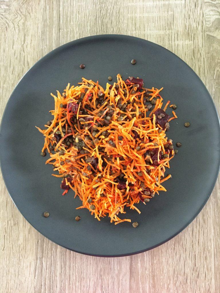 Salade de carottes, betteraves et lentilles vertes