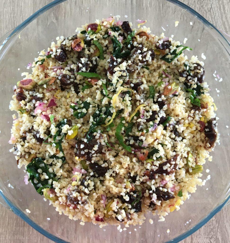 Taboulé de boulgour aux pistaches et aux pruneaux